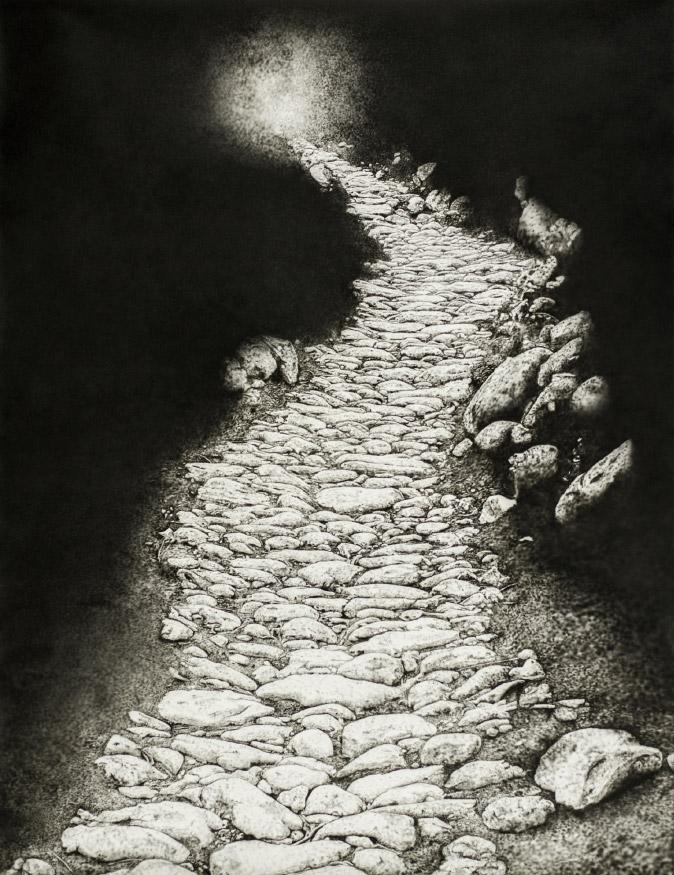 Les Escaldes. Camí de la vall del Madriu (Pintura acrílica sobre paper)